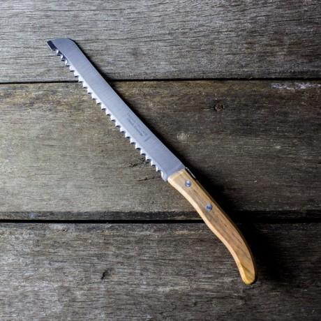 Claude Dozorme Laguiole Bread Carving Knife - Olive Wood Handle