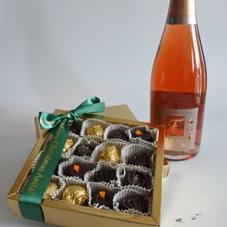 Pink Champagne and chocolates