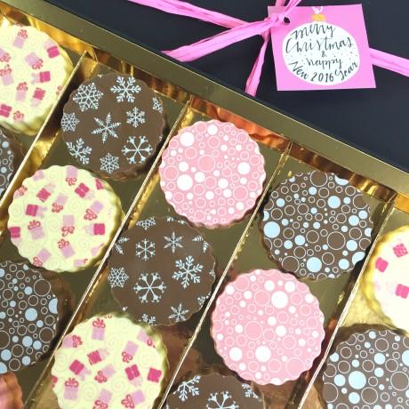 Christmas Gift Box of Milk, White & Strawberry Chocolates