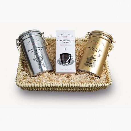 The Ayton Wicker Tray - Tea, Coffee & Biscuits Gift Set