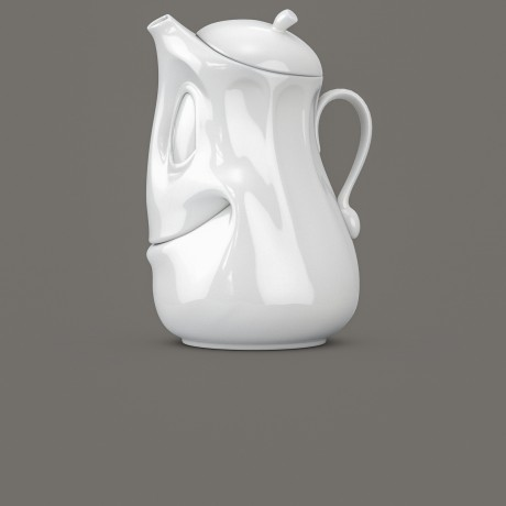 Side view of White Porcelain Te Pot by Tassen