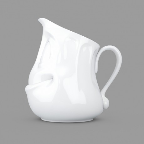 Side view of a small white porcelain jug