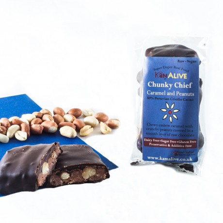 Chunky Chief - Cashew Caramel And Peanut Raw Chocolate Bar (3 pack)