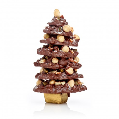 Milk Chocolate Snowy Fruit and Nut Christmas Tree
