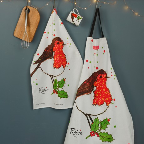 Robin tea towel partnered with the Robin Cooks Apron