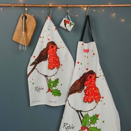 Robin Tea towel with Cooks Apron