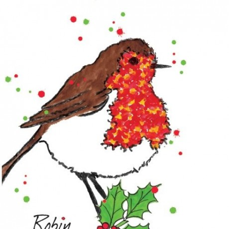 Friendly Christmas Robin in a bold design