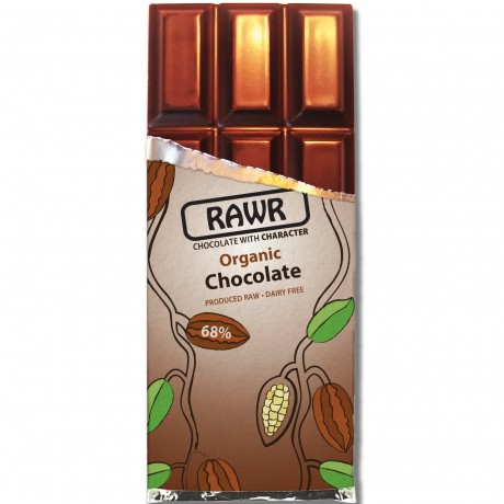 Organic Fairtrade 68% Chocolate Bar 60g unwrapped
