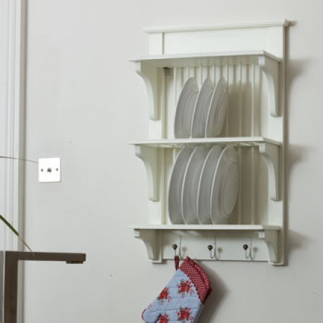 Wooden Painted Plate Rack Wall Unit