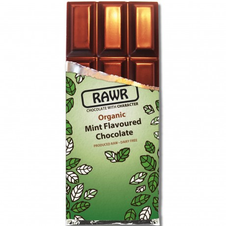 Organic Fairtrade Mint Chocolate Bar 60g unwrapped