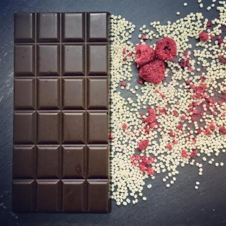 Handmade Dairy Free Milk Chocolate with Raspberry Crunch (3 bars)
