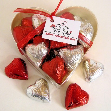 Heart Box of 20 Foiled Handmade Solid Chocolate Hearts