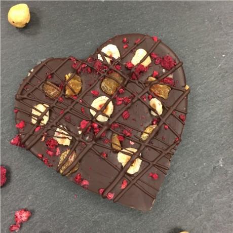 Dark chocolate fruit & nut heart