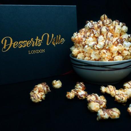 Chocolate drizzled caramel popcorn