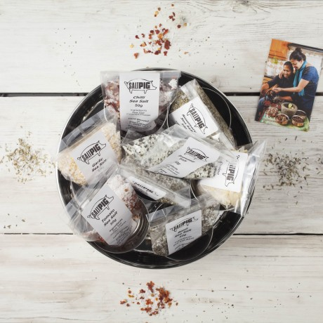 Salt Pigs Flavoured Sea Salts Collection with 7 Flavoured Salts & Stainless Steel Storage Tin