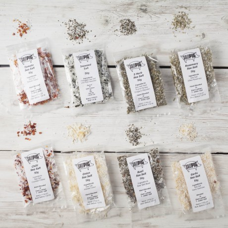 Salt Pigs Flavoured Sea Salts Collection with 7 Flavoured Salts & Handmade Silk Sari Wrap