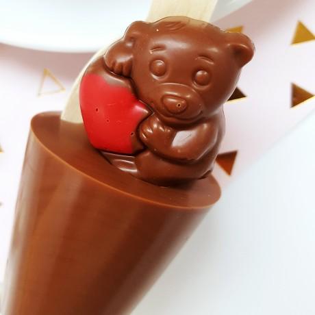 Set of 3 Praline Teddy Hot Chocolate Stirrers