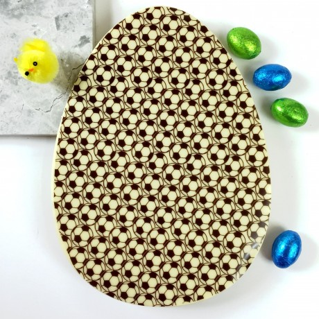 Large Chocolate Easter Egg in White Chocolate with Football Design