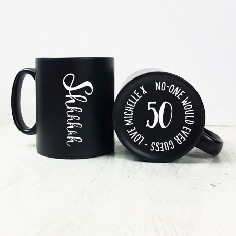 Shhhh Hidden Birthday Carved Mug
