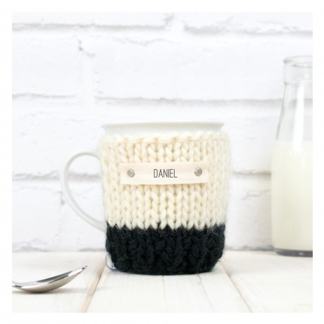 Black Personalised Colour Block Mug Cosy