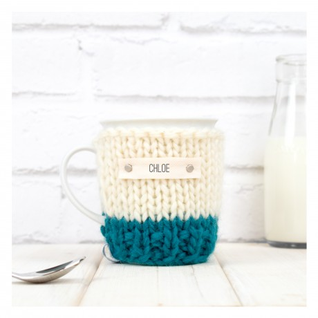 Teal Personalised Colour Block Mug Cosylised text