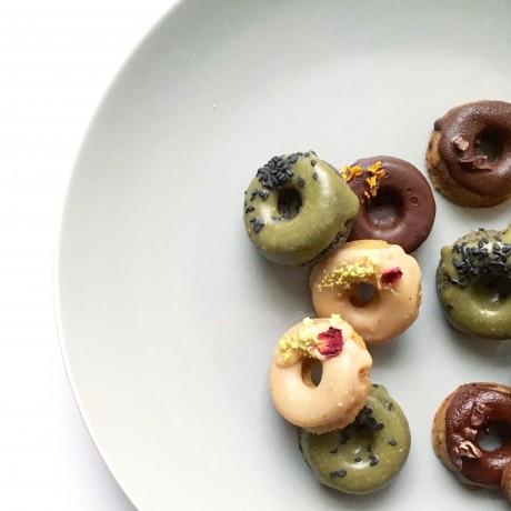 mixed vegan baked doughnuts