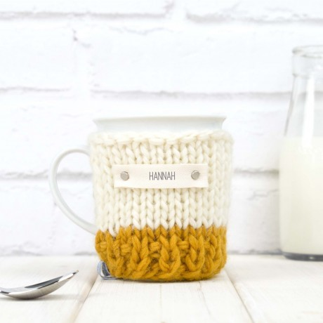 Mustard Personalised Colour Block Mug Cosy