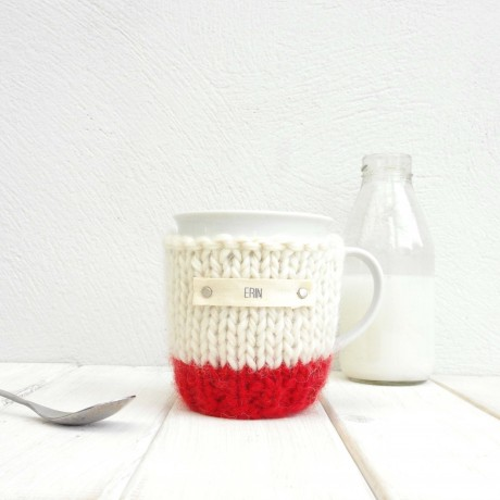 Red Personalised Colour Block Mug Cosy