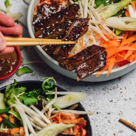 vegan steak buddha bibimbap bowl