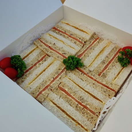 Sandwiches arrive boxed beautifully ready for your plate