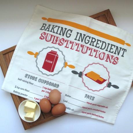 Baking Substitutions Tea Towel UK Made