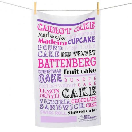 Pink Cake typography Tea Towel