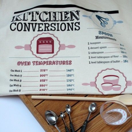 kitchen conversion chart tea towel gift
