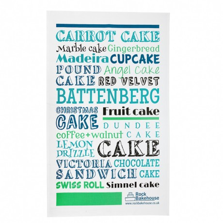 green blue british cake tea towel