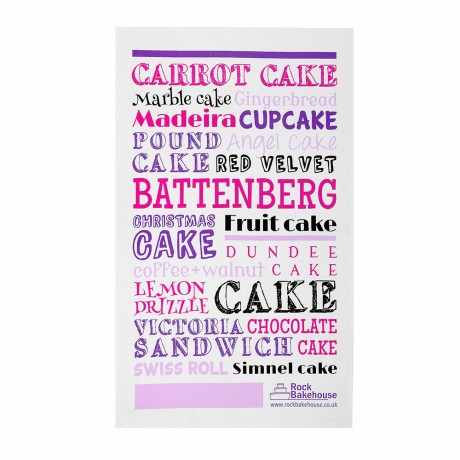 pink cake tea towel