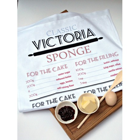 victoria sponge tea towel