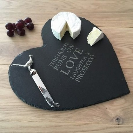 Large Heart Slate Cheeseboard with Olive Wood Brie Knife (Personalisation Available)