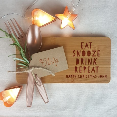 Eat Snooze Drink Repeat Christmas Coaster