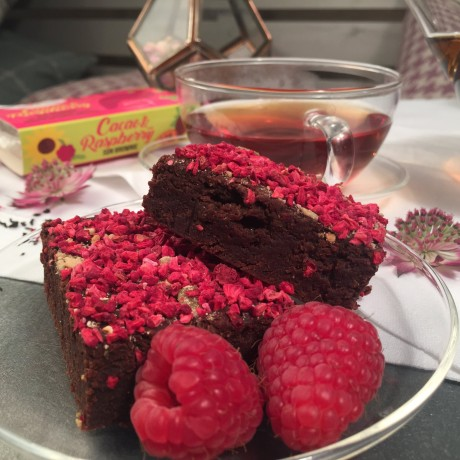 Cacao and Raspberry Sun Brownies
