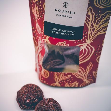 NOURISH GROW COOK ENJOY red velvet and coconut macaroons