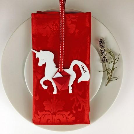 Personalised Unicorn Christmas Place Settings Set of 4
