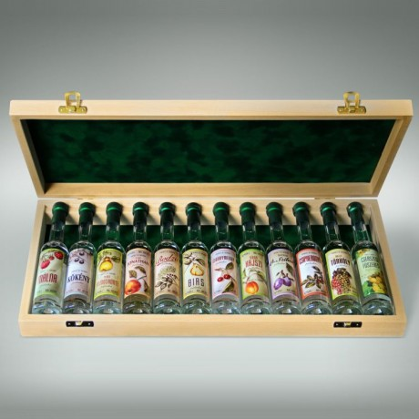 12 Mini Bottles of Premium Palinka in a Wooden Gift Box