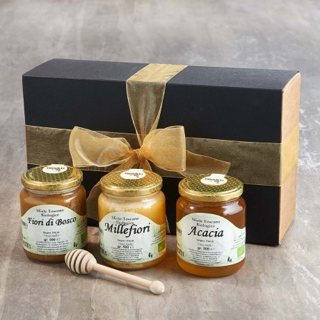 Organic Tuscan Honey Selection with Wooden Drizzler
