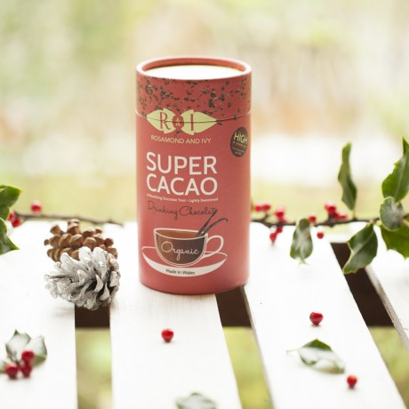 Super Cacao Drinking Chocolate & Hand-Blown Drinking Glasses Gift Set