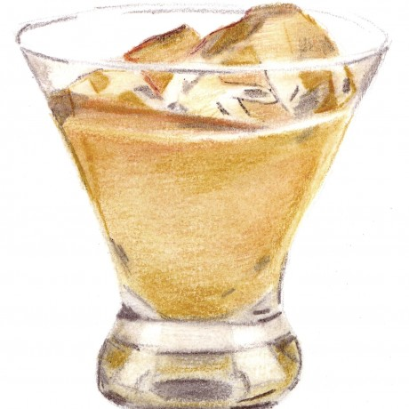 Glass of Baileys on Ice Illustration