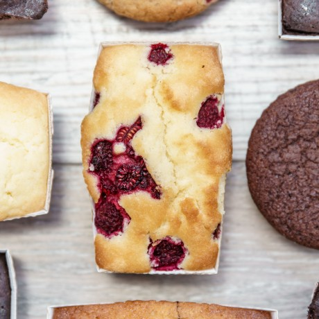 Every Almond and raspberry cake is generously portioned with whole raspberries.