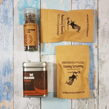 Raw chocolate taster gift bag flatlay
