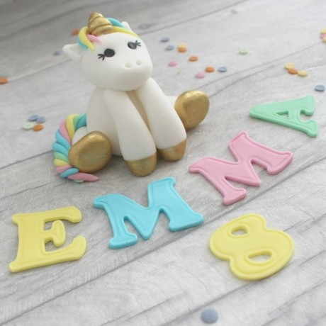 Unicorn Cake Topper with Name and Age