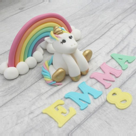 Unicorn and Rainbow Cake Toppers with Name and Age