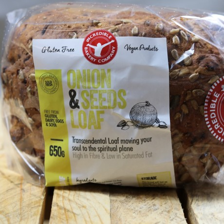 Onion and seeds loaf on packaging